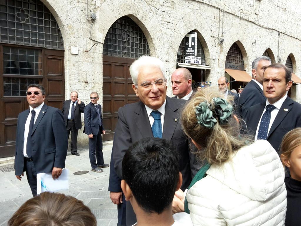 Presidente della Repubblica Sergio Mattarella durante visita a Perugia