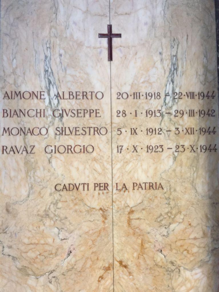 seconda guerra mondiale lapide commemorativa giorgio ravaz