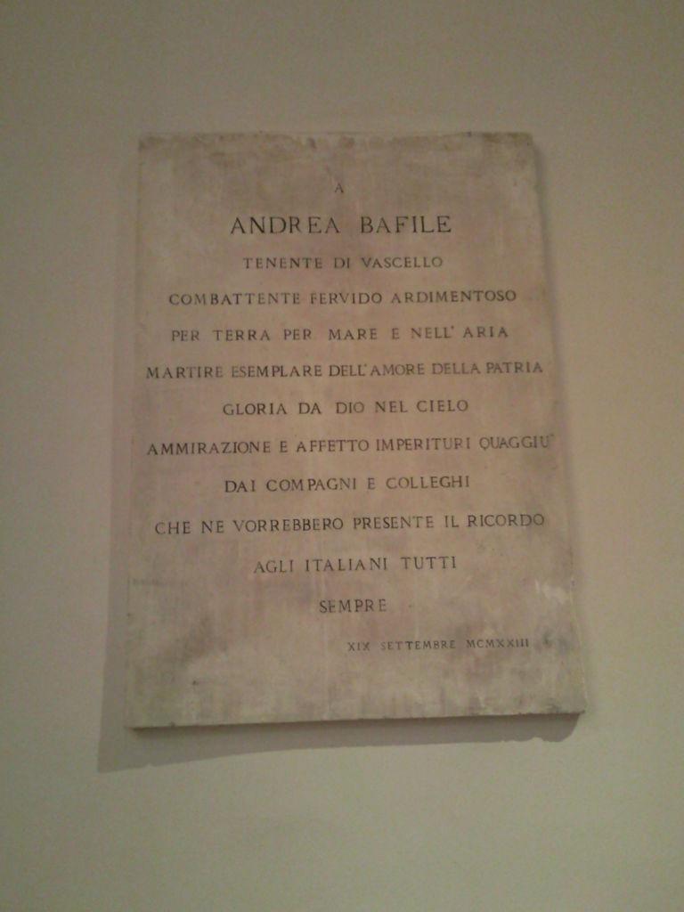 lastra dedicata t.v. Andrea Bafile
