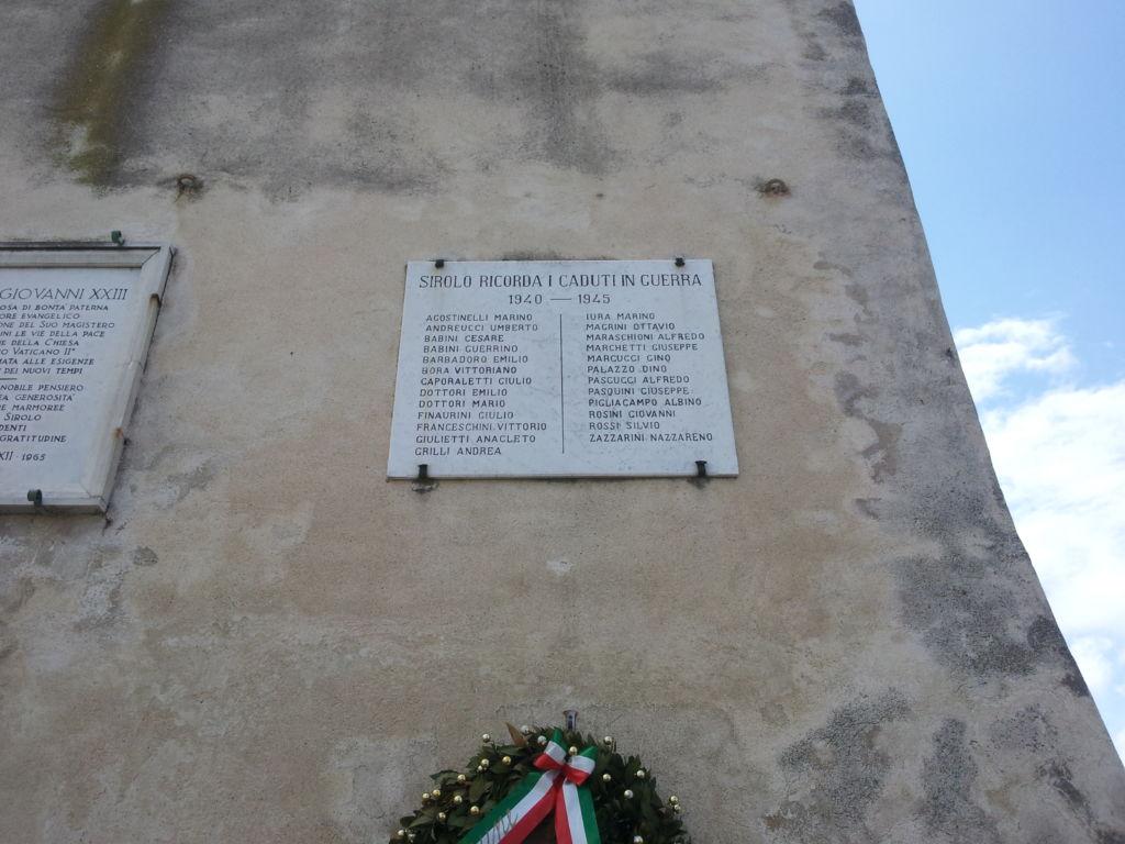 Lastra ai caduti di Sirolo guerra 1940-45